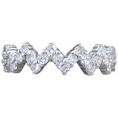 Contemporary Diamond Set Zig Zag Eternity Ring in 18 Carat White Gold