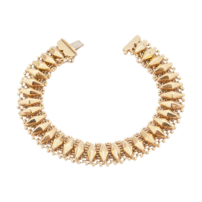 14 Karat Yellow Gold Diamond-Shape Link Bracelet