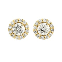 Contemporary Diamond Stud Earrings with Removable Diamond Halo Jacket