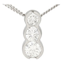 Contemporary Diamond Trilogy Platinum Pendant