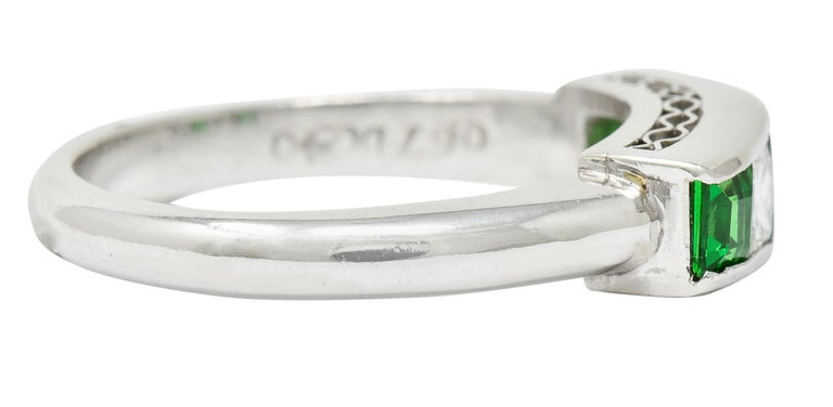 Brilliant Cut Contemporary Diamond Tsavorite Platinum Five-Stone Band Ring For Sale
