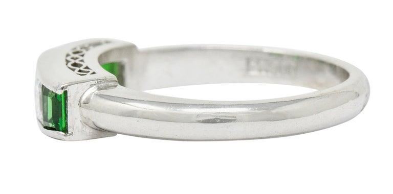 Women's or Men's Contemporary Diamond Tsavorite Platinum Five-Stone Band Ring For Sale