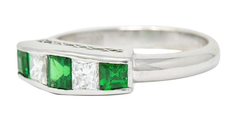 Contemporary Diamond Tsavorite Platinum Five-Stone Band Ring For Sale 1