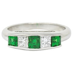 Contemporary Diamond Tsavorite Platinum Five-Stone Band Ring