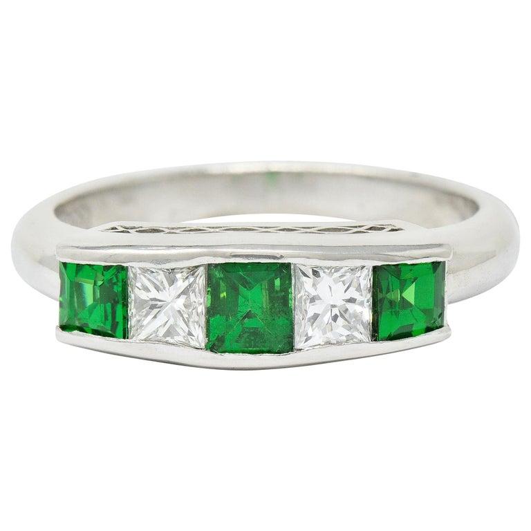 Contemporary Diamond Tsavorite Platinum Five-Stone Band Ring For Sale
