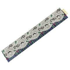Contemporary Diamond Platinum Floral Bracelet