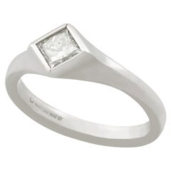 Contemporary Diamond White Gold Solitaire Ring