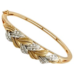 Contemporary Diamond Yellow Gold and White Gold Set Bangle