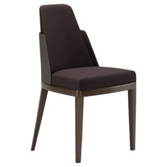 Contemporary Dining Chair by Fabio Arcaini Velvet Leather Nabuk