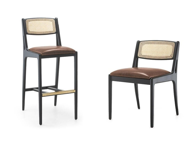 Modern Contemporary Dining Chair Featuring Natural Rattan Backrest For Sale