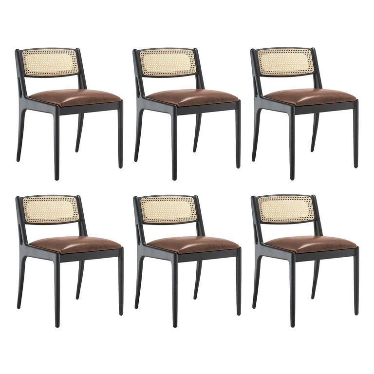 Contemporary Dining Chair Featuring Natural Rattan Backrest For Sale