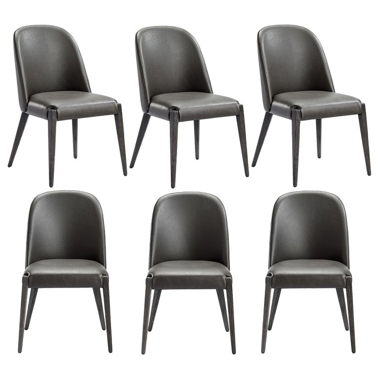Contemporary Dining Chair, Grey Faux Leather / Charcoal ...