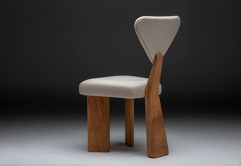 Contemporary Dining Chair in Solid Brazilian Walnut Wood by Juliana Vasconcellos For Sale 7