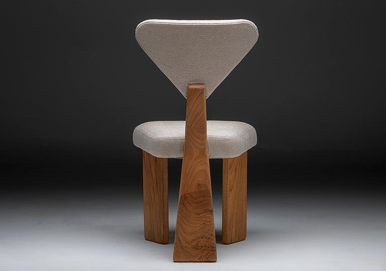 Contemporary Dining Chair in Solid Brazilian Walnut Wood by Juliana Vasconcellos For Sale 8