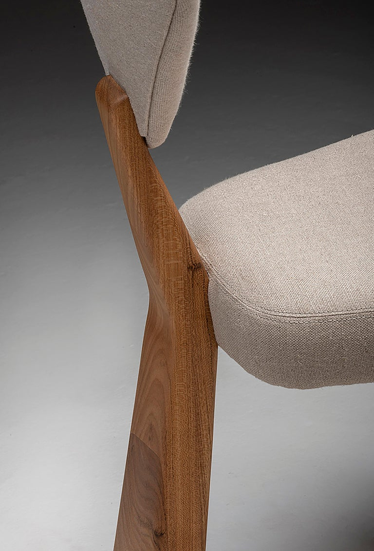 Contemporary Dining Chair in Solid Brazilian Walnut Wood by Juliana Vasconcellos For Sale 11