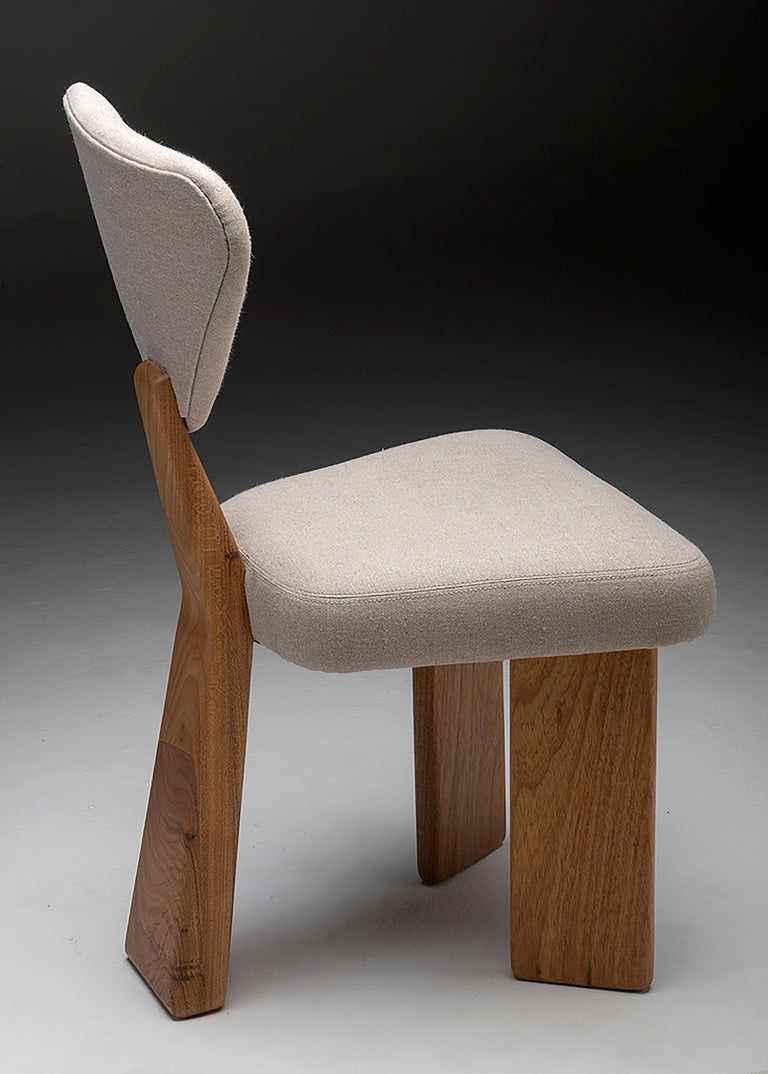 Contemporary Dining Chair in Solid Brazilian Walnut Wood by Juliana Vasconcellos For Sale 12