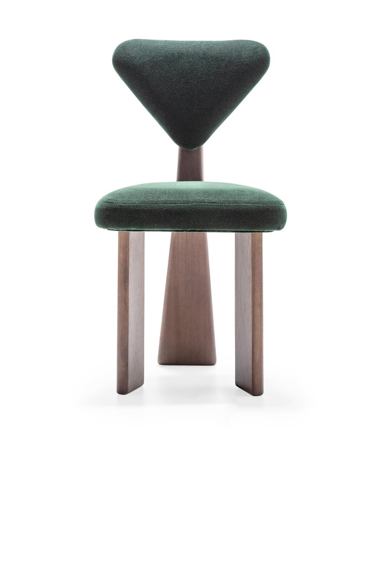Modern Contemporary Dining Chair in Solid Brazilian Walnut Wood by Juliana Vasconcellos For Sale