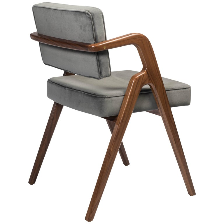 Contemporary Dining Chair in Walnut with Upholstered Seat and Back by Luteca For Sale