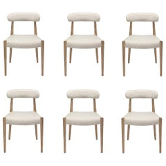 Contemporary Dining Chair Set of 6 in Rustic Oak Finish