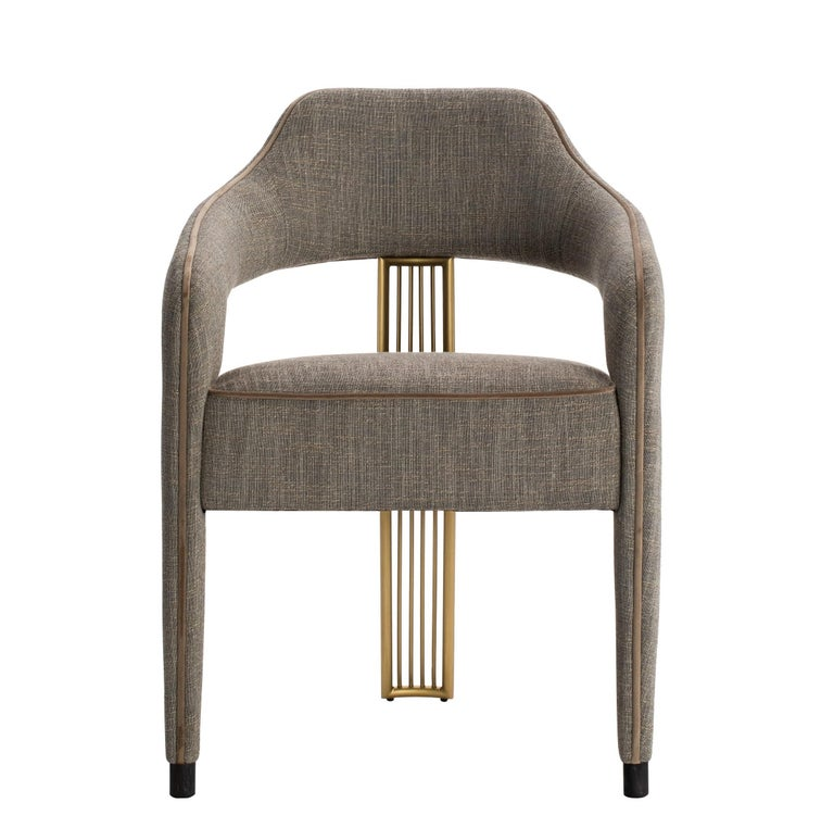 Portuguese Contemporary Dining Chair with Gilded Metal Back Leg For Sale