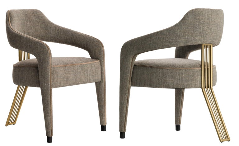 Contemporary Dining Chair with Gilded Metal Back Leg In New Condition For Sale In New York, NY