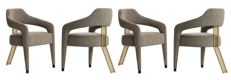 Contemporary Dining Chair with Gilded Metal Back Leg For Sale 2