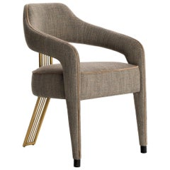 Contemporary Dining Chair with Gilded Metal Back Leg