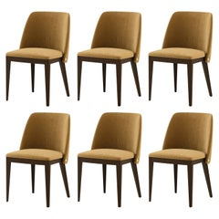 Contemporary Dining Chairs, Camel Velvet/Walnut Frame
