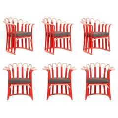 Contemporary Dining Chairs Featuring Cane Petals, Set of 6