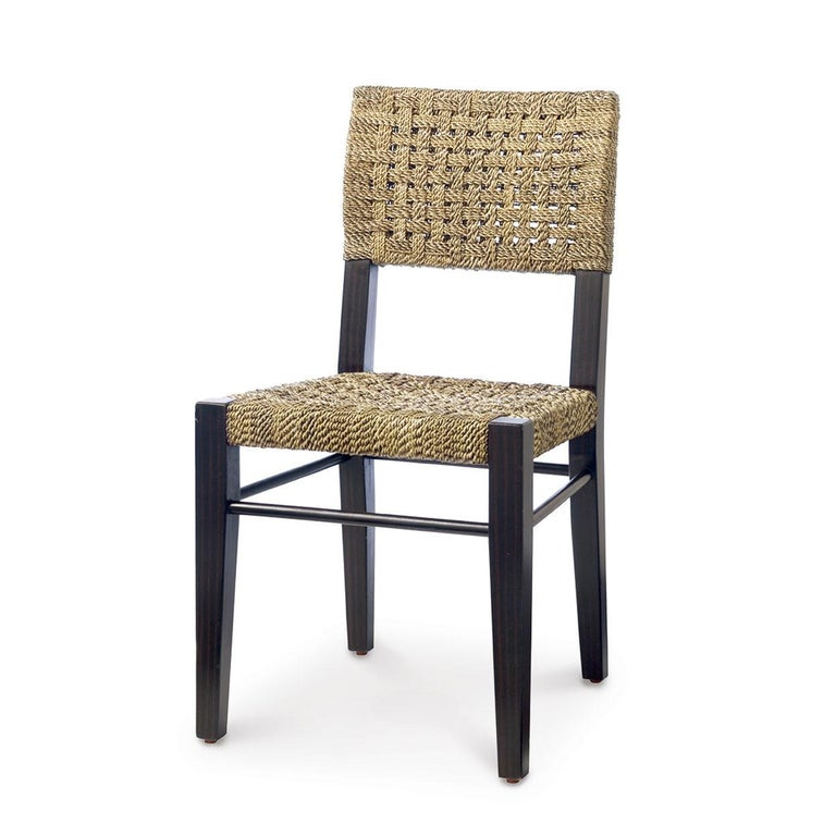 Modern Contemporary Dining Chairs in Natural Woven Rope For Sale