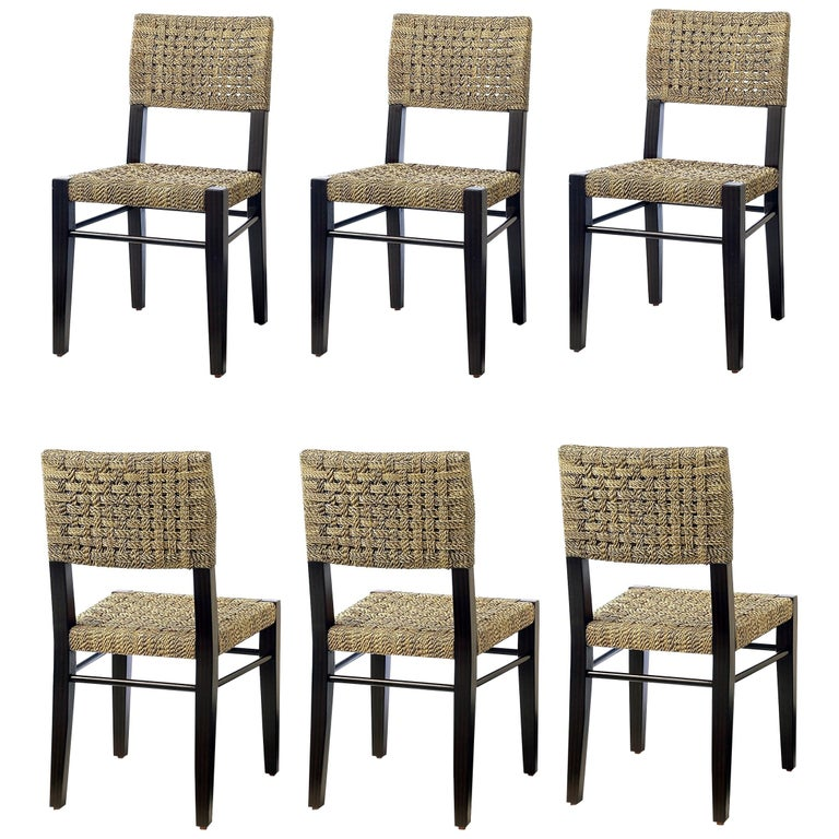 Contemporary Dining Chairs in Natural Woven Rope For Sale