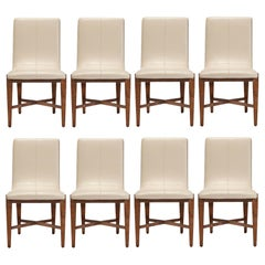 Contemporary Dining Chairs in Walnut Finish, Set of 8