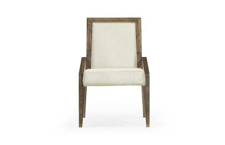 Modern Contemporary Dining Chairs in Warm Grey Walnut Finish For Sale