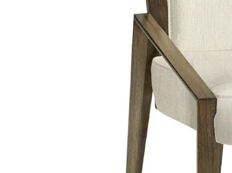 Contemporary Dining Chairs in Warm Grey Walnut Finish In New Condition For Sale In New York, NY