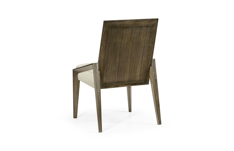 Fabric Contemporary Dining Chairs in Warm Grey Walnut Finish For Sale