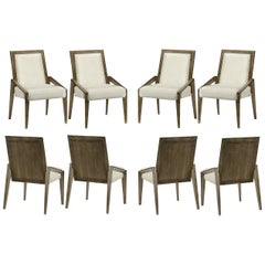 Contemporary Dining Chairs in Warm Grey Walnut Finish