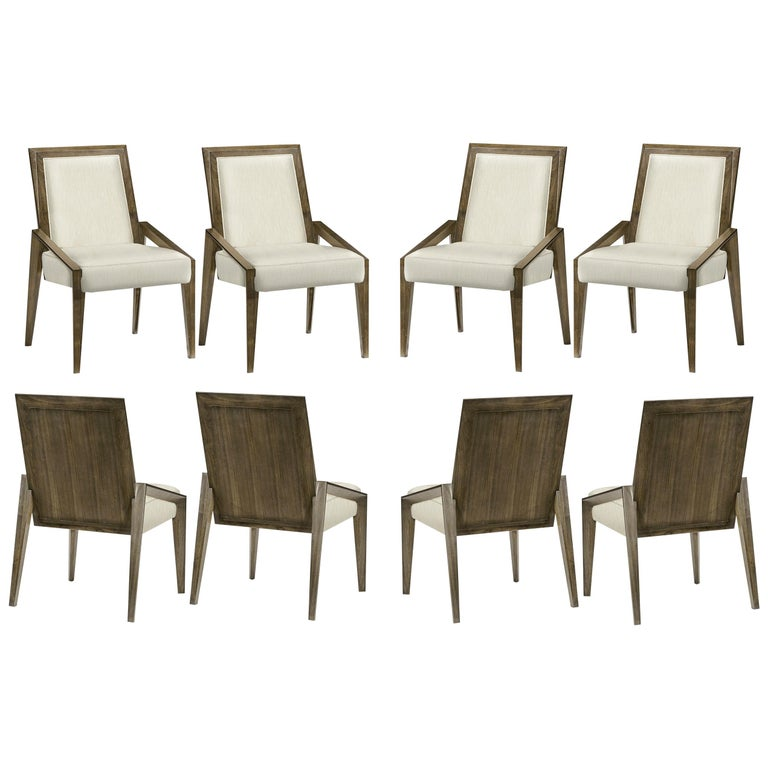 Contemporary Dining Chairs in Warm Grey Walnut Finish For Sale