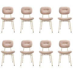 Contemporary Dining Chairs, Polished Brass / Cream Latte, Set of 8