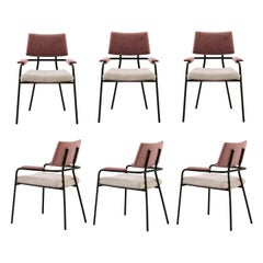 Contemporary Dining Chairs Set of 6, Black Steel Frame/Brushed Gold