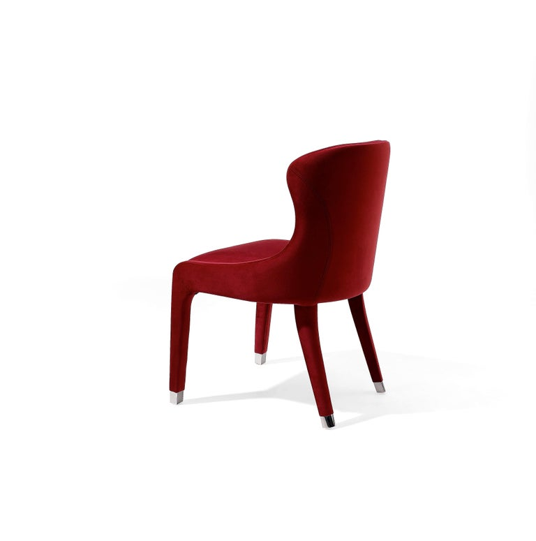 Modern Contemporary Dining Chairs Set of 6, Deep Red Velvet For Sale