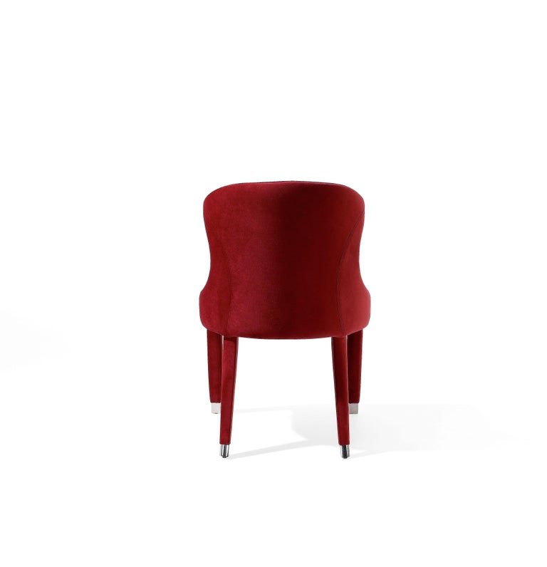Spanish Contemporary Dining Chairs Set of 6, Deep Red Velvet For Sale