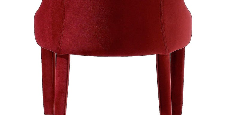 Contemporary Dining Chairs Set of 6, Deep Red Velvet In New Condition For Sale In New York, NY