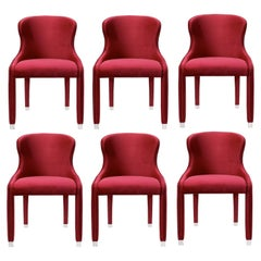 Contemporary Dining Chairs Set of 6, Deep Red Velvet