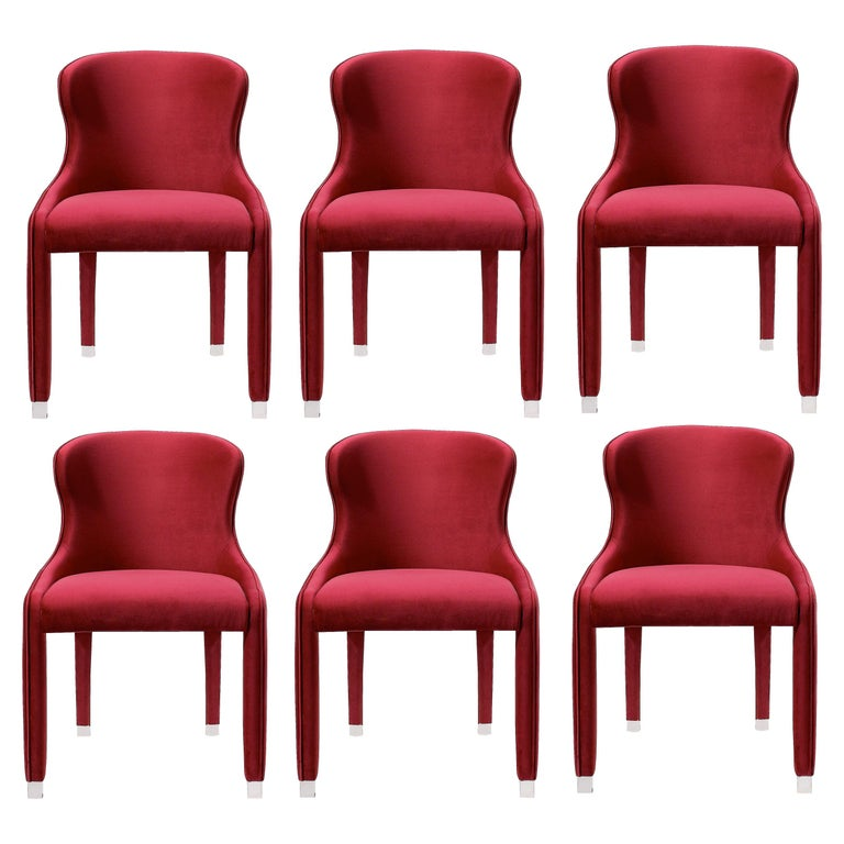 Contemporary Dining Chairs Set of 6, Deep Red Velvet For Sale