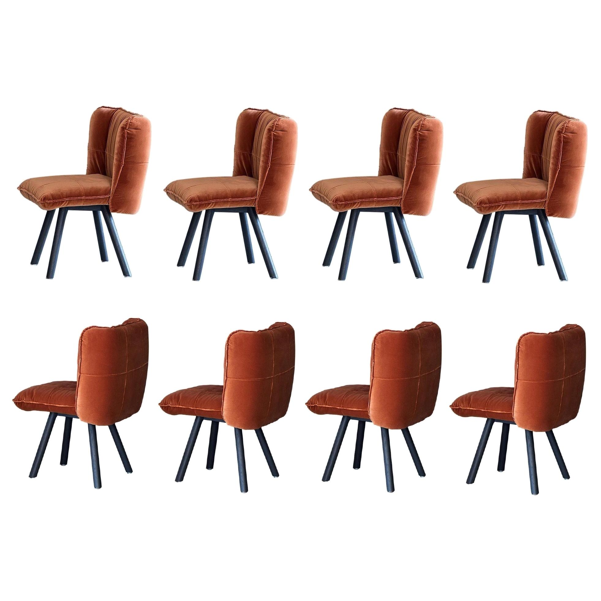 Contemporary Dining Set of 8 Chairs Crafted from American Oak