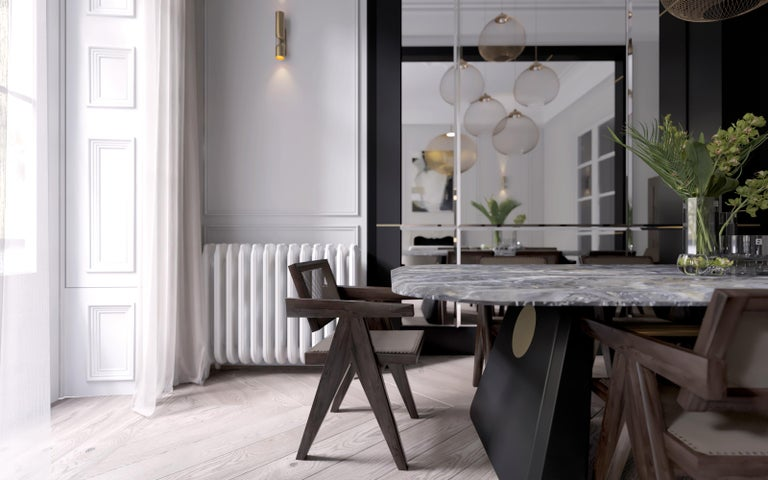 Contemporary Dining Table Henge, Marble and Wood 'Customizable' For Sale 2