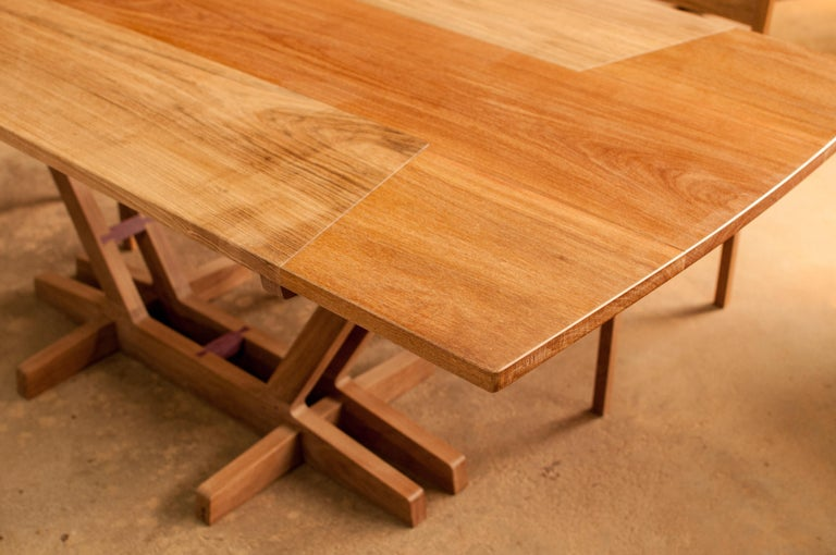 Contemporary Dining Table in Brazilian Hardwood For Sale