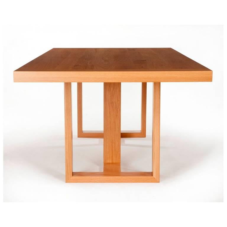 Modern Contemporary Dining Table in Solid Oak with Hand-Burnished Lacquer Finish For Sale