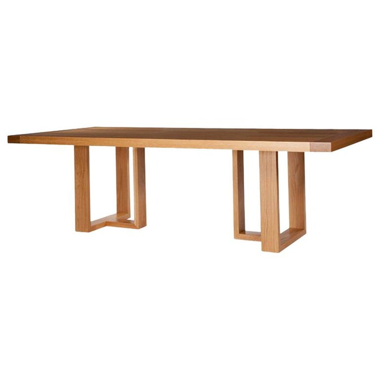 Contemporary Dining Table in Solid Oak with Hand-Burnished Lacquer Finish For Sale