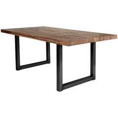 Contemporary German Dining Table in Solid Oak with Smoke Oil Finish
